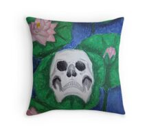 Skull on Lily Pad Throw Pillow