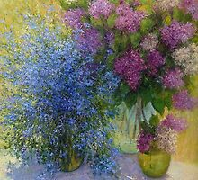 Still life with forget-me-nots and lilacs by Julia Lesnichy