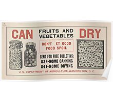 United States Department of Agriculture Poster 0139 Can Fruits and Vegetables Dry Don't Let Good Food Spoil Poster