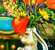 Rabbit and Poppies, Big Sur Kitchen by Barbara Sparhawk