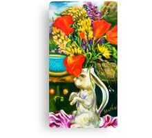 Rabbit and Poppies, Big Sur Kitchen Canvas Print