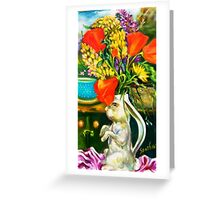 Rabbit and Poppies, Big Sur Kitchen Greeting Card