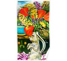 Rabbit and Poppies, Big Sur Kitchen Poster