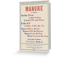 United States Department of Agriculture Poster 0080 Manure Dump Less than Nothing Breeds Flies Disease Greeting Card