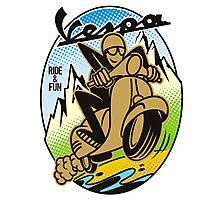 Vespa Ride and Fun Photographic Print