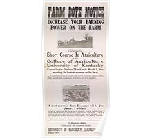 United States Department of Agriculture Poster 0226 Farm Boys Notice Increase Your Earning Power Poster