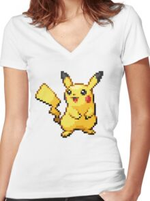 Pixelated Pikachu Women's Fitted V-Neck T-Shirt