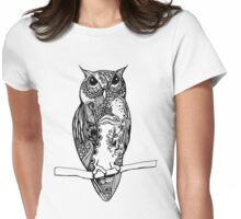 Black and White Owl Illustration Womens Fitted T-Shirt