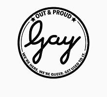 """Gay stamp logo """"out & proud"""" black Men's Baseball ¾ T-Shirt"""