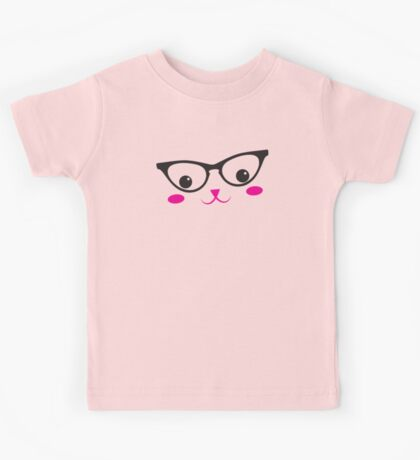 CUTE KAWAII kitty with glasses Kids Tee