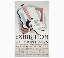 WPA United States Government Work Project Administration Poster 0232 Exhibition of il Paintings Federal Art Project One Piece - Short Sleeve