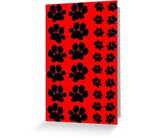 Paw Prints Pattern on Red Greeting Card