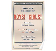 United States Department of Agriculture Poster 0054 Ham and The Soldier's Joy Boys Girls Waste Surplus Meat Eggs Poster