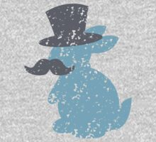 cute blue bunny with top hat and mustache One Piece - Short Sleeve