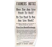 United States Department of Agriculture Poster 0046 Farmer's Notice Free Live Stock Exchange Poster
