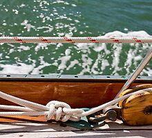 Wooden Pulley And Sailor's Knot by phil decocco