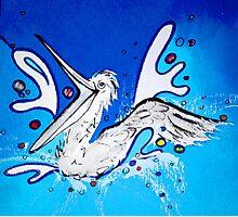Happy Pelican splashing  Photographic Print