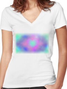 Tie-dye heart Women's Fitted V-Neck T-Shirt