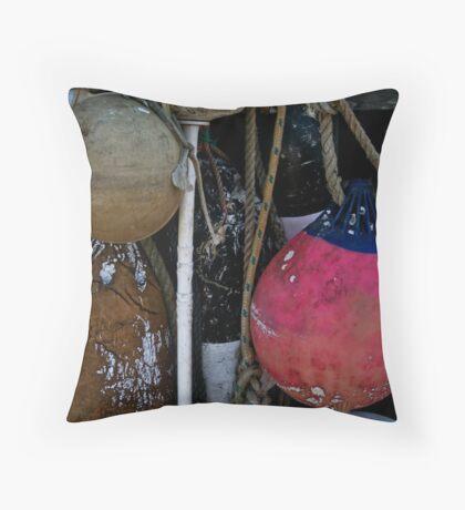 Battered Buoys Throw Pillow