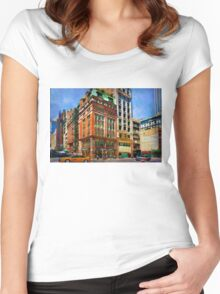 Manhattan Street Scene Women's Fitted Scoop T-Shirt