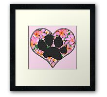 Paw Print in Heart with Flowers Framed Print