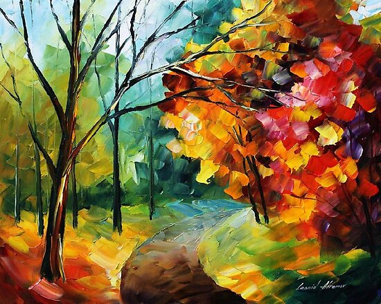 AROUND THE AUTUMN - Original Art Oil Painting By Leonid Afremov by Leonid  Afremov