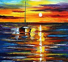 KISSED BY THE WATER - Original Art Oil Painting By Leonid Afremov by Leonid  Afremov