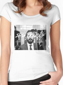 Shia Labeouf Black and White Women's Fitted Scoop T-Shirt