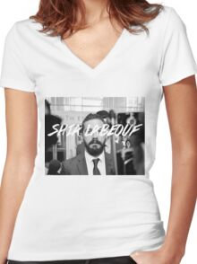 Shia Labeouf Black and White Women's Fitted V-Neck T-Shirt