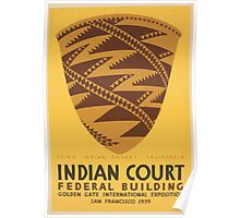 WPA United States Government Work Project Administration Poster 1035 Pomo Indian Basket California Indian Court Federal Building Poster