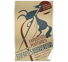 WPA United States Government Work Project Administration Poster 0607 Exposition Executees Par Des Peintures Enfants Americains Poster
