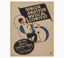 WPA United States Government Work Project Administration Poster 0895 Senior Amature Musical Contest Mall Central Park Baby Tee