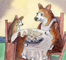 This Corgi mom was a stickler for table manners by SusanAlisonArt
