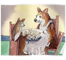 This Corgi mom was a stickler for table manners Poster
