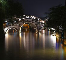 Bridge at night, Wuzhen by Akif  Kaynak