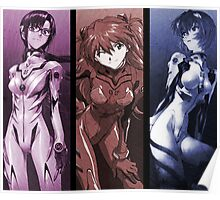 neon genesis evangelion rei ayanami asuka soryu mari illustrious anime manga shirt Poster