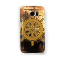 Vintage Ships Wheel Sea On The Sunset Samsung Galaxy Case/Skin