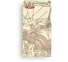Washington DC Vintage Map Canvas Print