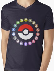 Pokemon Type Wheel Mens V-Neck T-Shirt
