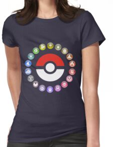 Pokemon Type Wheel Womens Fitted T-Shirt