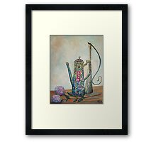 Cobalt Chocolate Pot Still-life with urn and flowers Framed Print