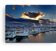 Sunset over Astoria harbor Oregon USA Canvas Print