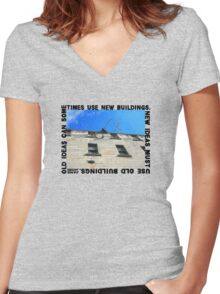 New Ideas Must Use Old Buildings, Jane Jacobs Women's Fitted V-Neck T-Shirt