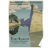 WPA United States Government Work Project Administration Poster 0014 National Park Service Fort Marion National Monument Poster