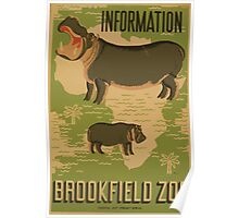 WPA United States Government Work Project Administration Poster 0878 Information Brookfield Zoo Poster
