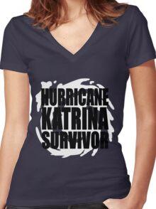 Hurricane Katrina Survivor Women's Fitted V-Neck T-Shirt
