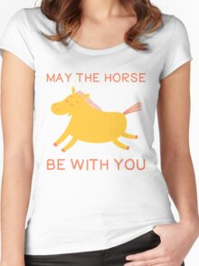 May The Horse Be With You - Cute Horse Lover T Shirt Women's Fitted Scoop T-Shirt