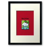 Christmas Holly Cupcake red Framed Print