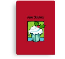 Christmas Holly Cupcake red Canvas Print