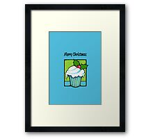Christmas Holly Cupcake blue Framed Print